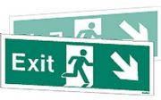 W448DST - DOUBLE-SIDED EXIT SIGN DOWN TO THE RIGHT OR DOWN TO THE LEFT.